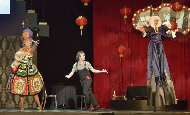 Katrina Currow, left, Jimmy Slonina and Nickole Muse perform during the Circus Couture ҌuckyӠfundraising event benefitting the Childrenճ Specialty Center of Nevada at the Hard Ro ...