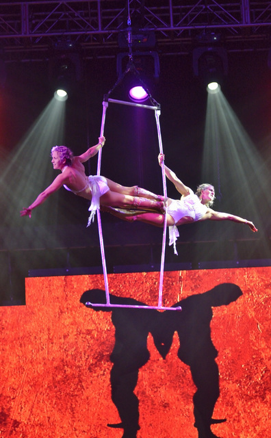 "The Steben Twins, Karvne and Sarah, perform during the Circus Couture ""Lucky"" fundraiser benefitting the Children's Specialty Center of Nevada at the Hard Rock hotel-casino at ..."