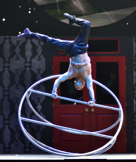 "Mathieu Bolillo performs during the Circus Couture ""Lucky"" fundraiser benefitting the Children's Specialty Center of Nevada at the Hard Rock hotel-casino at 4455 Paradise Road ..."