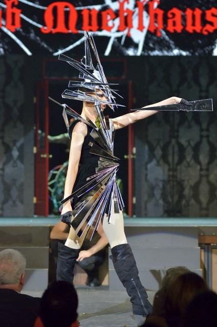 Fantasia Saxton (Jason Paris) models an outfit by designer Jacob Muehlhausen.