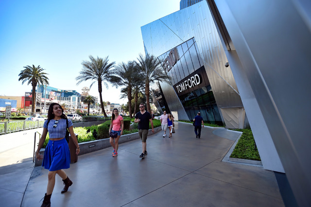 The Shops at Crystals at CityCenter is seen Friday, March 18, 2016, in Las Vegas. U.S. shoppers stepped up their spending in September, with sharply higher sales at auto dealers, restaurants and g ...
