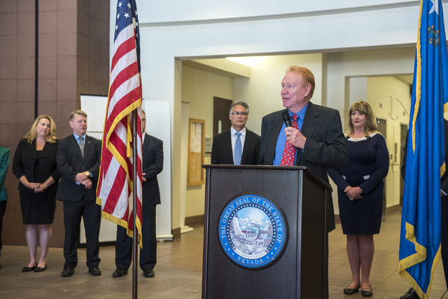 """Republican Assembly candidate Norm Ross of District 8 speaks during an event where he and other """"insurgent"""" Republican Assembly candidates stood together promising to reverse Gov ..."""