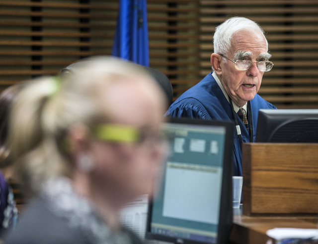 Judge William Jansen rules during the preliminary hearing for Daron Lewis Clanton in Henderson Justice Court on Monday, Oct.10, 2016. Clanton, who is accused in the shooting death of his father, w ...