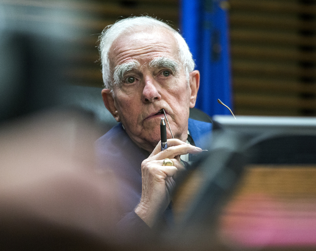 Judge William Jansen listens during the preliminary hearing for Daron Lewis Clanton in Henderson Justice Court on Monday, Oct.10, 2016. Clanton, who is accused in the shooting death of his father, ...