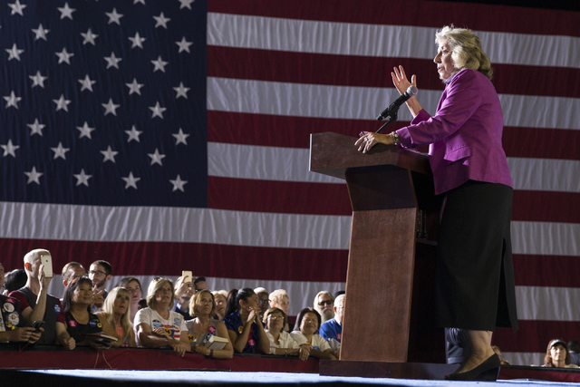 U.S. Rep. Dina Titus, D-Nev., speaks during a campaign rally for Democratic presidential nominee Hillary Clinton at the Smith Center for the Performing Arts on Wednesday, Oct. 12, 2016, in Las Veg ...