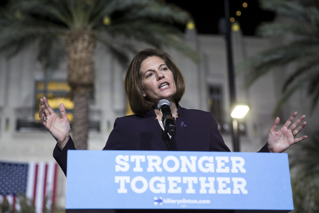 Nevada Democratic U.S. Senate candidate Catherine Cortez Masto speaks during a campaign rally for Democratic presidential nominee Hillary Clinton at the Smith Center for the Performing Arts on Wed ...