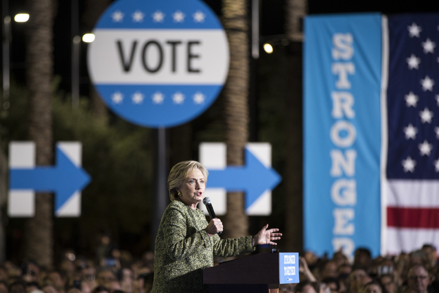 Democratic presidential nominee Hillary Clinton speaks during a campaign rally at the Smith Center for the Performing Arts on Wednesday, Oct. 12, 2016, in Las Vegas. Erik Verduzco/Las Vegas Review ...