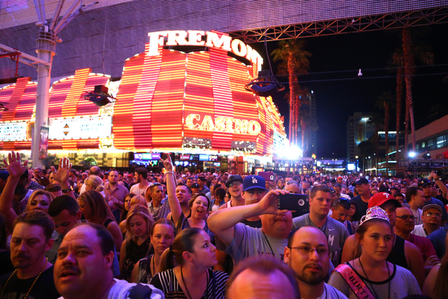 "Rock band Three Doors Down best known for their hit song ""Kryptonite"" plays a free concert at the Fremont Street Experience on Saturday, June 11, 2016, in downtown Las Vegas. (Loren Townsley/Las V ..."
