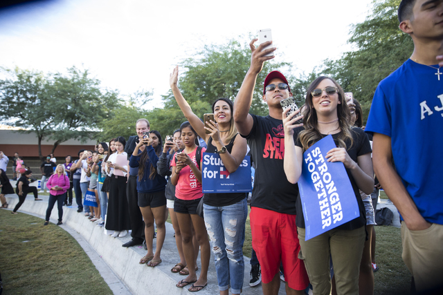 Fans cheer for music artist Katy Perry as she takes the stage for a campaign rally for Democratic presidential nominee Hillary Clinton at UNLV on Saturday, Oct. 22, 2016, in Las Vegas. Erik Verduz ...