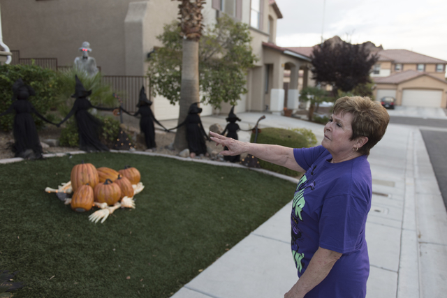 Sharon Sharapan shows Halloween decorations at her house in Henderson, Sunday, Oct. 30, 2016. Jason Ogulnik/Las Vegas Review-Journal
