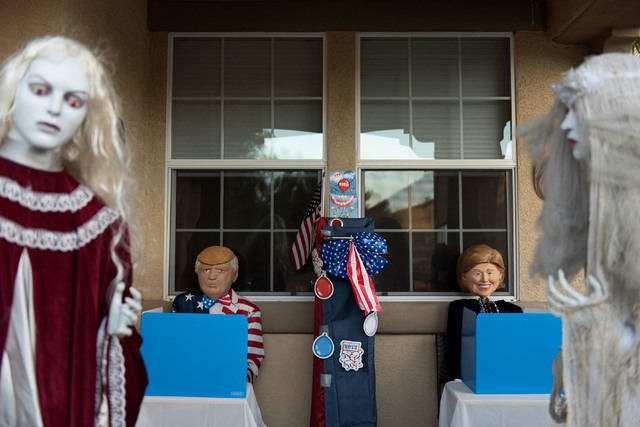 Presidential race themed Halloween decorations are seen at Sharon Sharapan's house in Henderson, Sunday, Oct. 30, 2016. Jason Ogulnik/Las Vegas Review-Journal