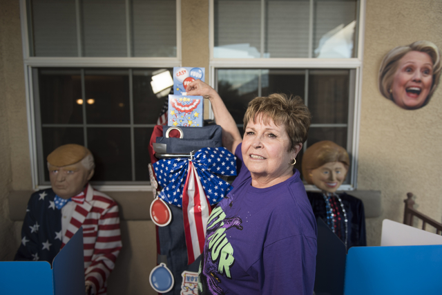 """Sharon Sharapan """"votes"""" at her presidential race themed Halloween decorations  at her house in Henderson, Sunday, Oct. 30, 2016. Jason Ogulnik/Las Vegas Review-Journal"""