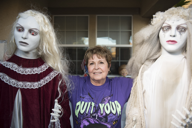 Sharon Sharapan stands in her front yard of her Henderson home with Halloween decorations, Sunday, Oct. 30, 2016. Jason Ogulnik/Las Vegas Review-Journal