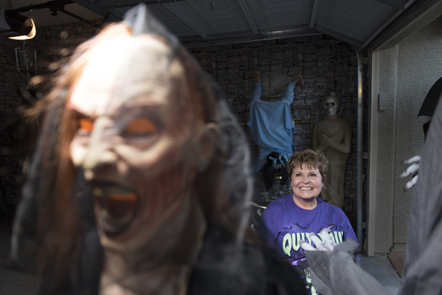 Sharon Sharapan sits in the garage of her Henderson home with Halloween decorations, Sunday, Oct. 30, 2016. Jason Ogulnik/Las Vegas Review-Journal