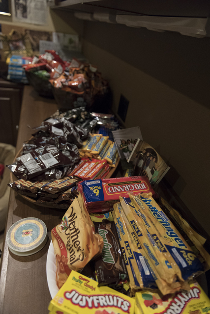 900 packages of candy for trick-or-treaters sit in Sharon Sharapan's house in Henderson, Sunday, Oct. 30, 2016. Jason Ogulnik/Las Vegas Review-Journal