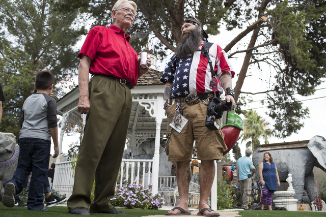 Former Lt. Gov. Lonnie Hammargren, left, with his friend Victor the SnakeMann at Hammargren's Las Vegas home during his 21st annual open house on Saturday, Oct. 29, 2016. Loren Townsley/Las Vegas  ...