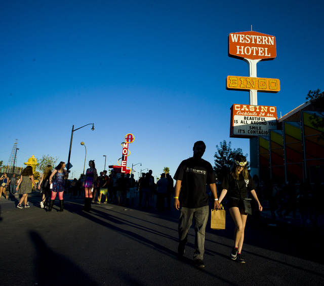 Attendees roam the festival grounds during the Life is Beautiful music and arts festival in downtown Las Vegas on Sunday, Sept. 25, 2016. (Chase Stevens/Las Vegas Review-Journal Follow @csstevensp ...