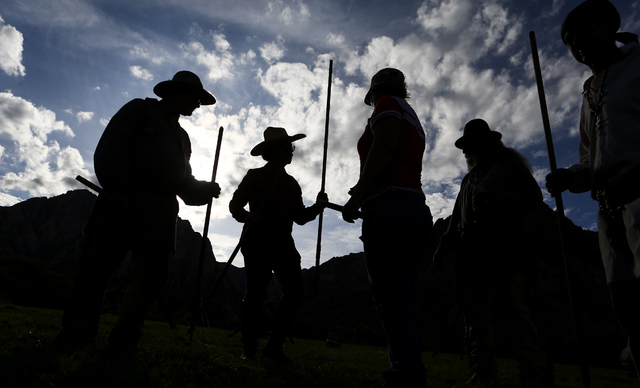 Participants prepare to throw lances during the Spring Mountain Free Trappers Mountain Man Rendezvous at Spring Mountain Ranch State Park on Saturday, Oct. 29, 2016. Chase Stevens/Las Vegas Review ...