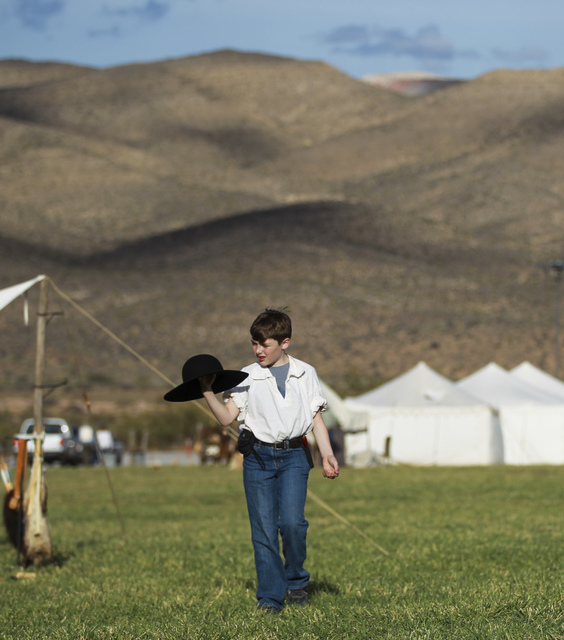 Eleven-year-old Benjamin Keele walks around during the Spring Mountain Free Trappers Mountain Man Rendezvous at Spring Mountain Ranch State Park on Saturday, Oct. 29, 2016. Chase Stevens/Las Vegas ...