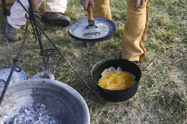 Cornbread is cooked in a dutch oven during the Spring Mountain Free Trappers Mountain Man Rendezvous at Spring Mountain Ranch State Park on Saturday, Oct. 29, 2016. Chase Stevens/Las Vegas Review- ...