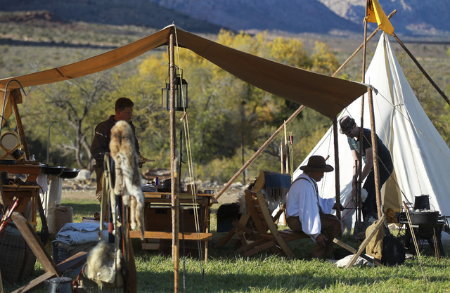 People gather in the shade during the Spring Mountain Free Trappers Mountain Man Rendezvous at Spring Mountain Ranch State Park on Saturday, Oct. 29, 2016. Chase Stevens/Las Vegas Review-Journal F ...