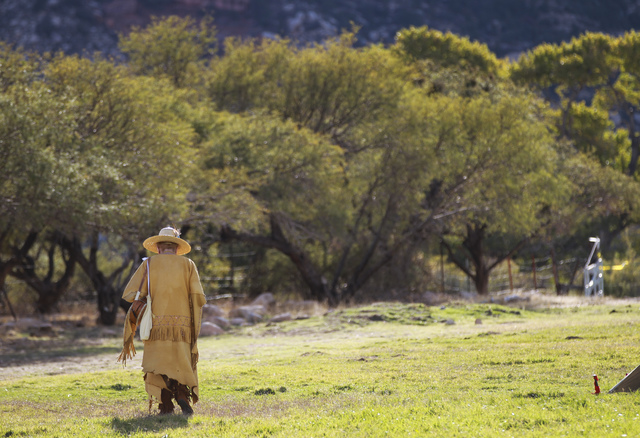 Evie Ward of Las Vegas walks around during the Spring Mountain Free Trappers Mountain Man Rendezvous at Spring Mountain Ranch State Park on Saturday, Oct. 29, 2016. Chase Stevens/Las Vegas Review- ...
