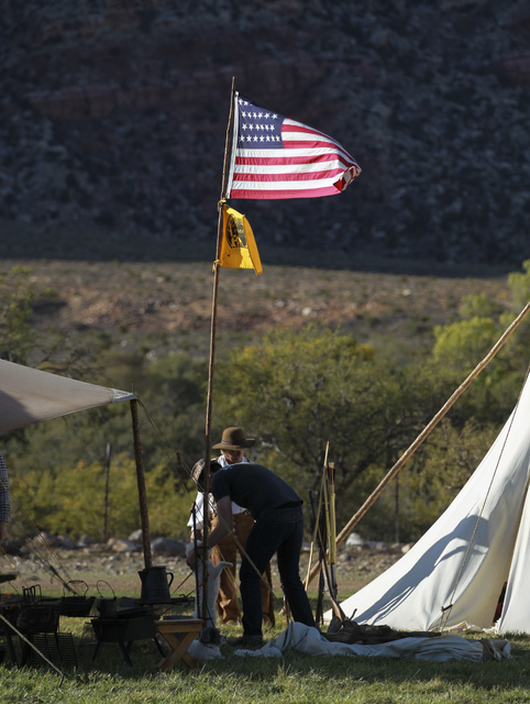 The American flag blows in the wind during the Spring Mountain Free Trappers Mountain Man Rendezvous at Spring Mountain Ranch State Park on Saturday, Oct. 29, 2016. Chase Stevens/Las Vegas Review- ...