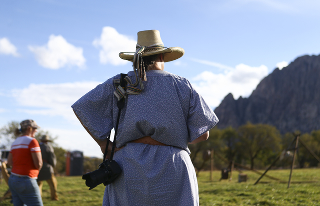 A woman looks on during the Spring Mountain Free Trappers Mountain Man Rendezvous at Spring Mountain Ranch State Park on Saturday, Oct. 29, 2016. Chase Stevens/Las Vegas Review-Journal Follow @css ...