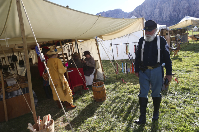 Jim Edwards of Las Vegas passes by different sellers during the Spring Mountain Free Trappers Mountain Man Rendezvous at Spring Mountain Ranch State Park on Saturday, Oct. 29, 2016. Chase Stevens/ ...