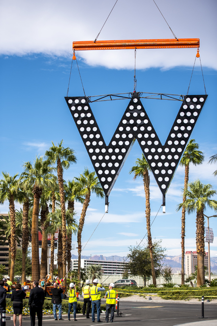 The sign for the new W Hotel is raised at the SLS hotel-casino in Las Vegas on Friday, Oct. 14, 2016. Joshua Dahl/Las Vegas Review-Journal