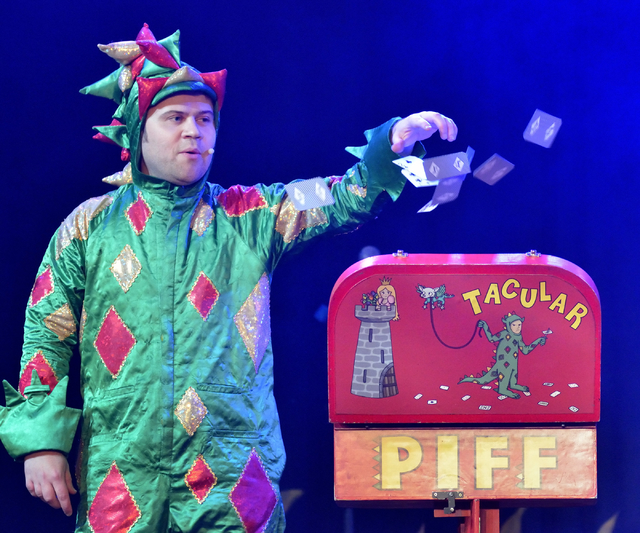"Comedy magician John van der Put performs as Piff the Magic Dragon during ""X Comedy"" at Bugsy's Cabaret in the Flamingo hotel-casino at 3555 Las Vegas Blvd. S. in Las Vegas on Th ..."