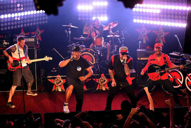 (L-R) Musicians Tim Commerford, Chuck D, Brad Wilk, B-Real and Tom Morello of Prophets of Rage perform at the Whisky a Go Go on May 31, 2016 in West Hollywood, California. (Photo by Kevin Winter/G ...