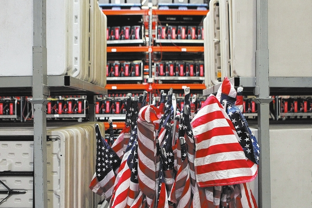 American flags are stored inside the Clark County Election Department warehouse, 965 Trade Drive, in North Las Vegas Monday, April 27, 2015. (Erik Verduzco/Las Vegas Review-Journal) Follow Erik Ve ...