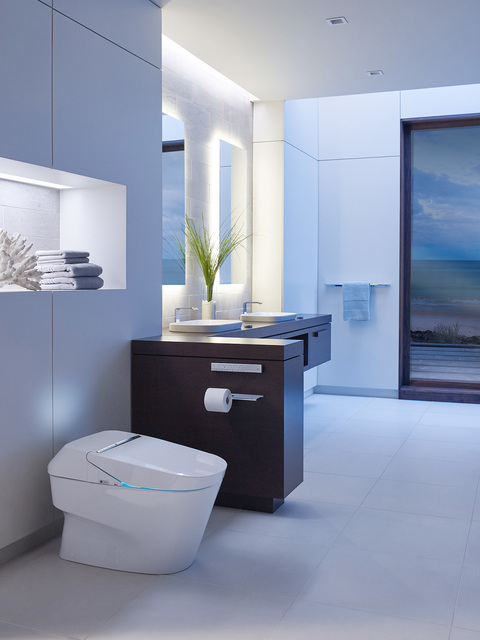 High-end toilets feature ambient lighting and music streaming capability. Costs range from $4,000 to $10,000.  (Courtesy)