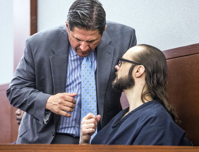 Sean P. Cordeiro, right, confers with his attorney Thomas Ericsson during his sentencing at Regional Justice Court on Tuesday, Oct. 18, 2016. Cordeiro was sentenced to 96 to 100 years for multiple ...