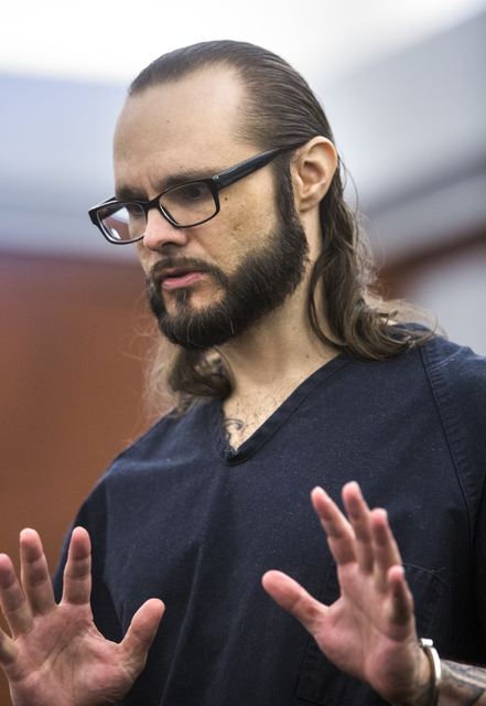 Defendant Sean P. Cordeiro speaks during his sentencing at Regional Justice Court on Tuesday, Oct. 18, 2016. Cordeiro was sentenced to 96 to 100 years for multiple counts in a 2014 home invasion.  ...