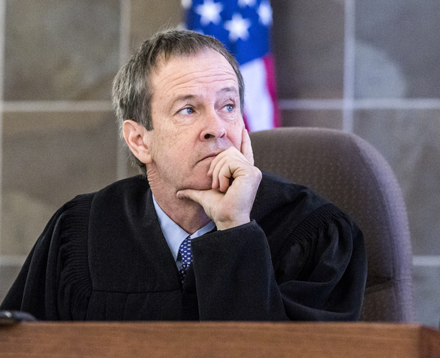 Judge Eric Johnson sits during sentencing of defendant Sean P. Cordeiro at Regional Justice Court on Tuesday, Oct. 18, 2016. Cordeiro was sentenced to 96 to 100 years for multiple counts in a 2014 ...