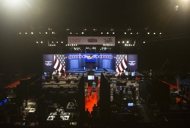 Setup goes on inside of the debate hall ahead of the third presidential debate at the Thomas & Mack Center at UNLV in Las Vegas on Tuesday, Oct. 18, 2016. Chase Stevens/Las Vegas Review-Journa ...