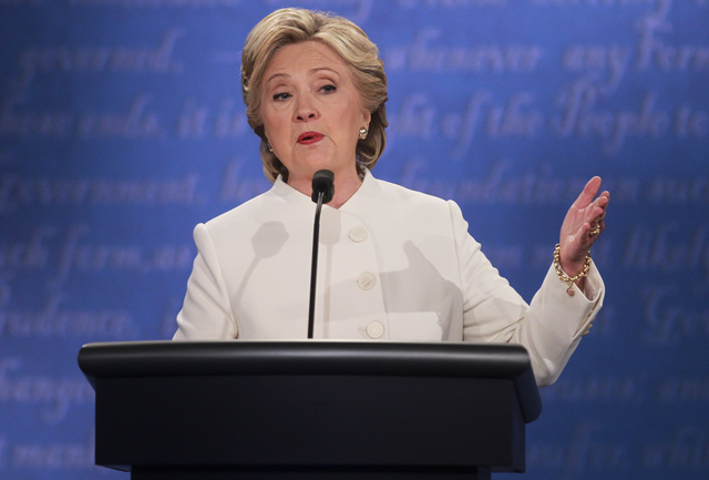 Democratic presidential candidate Hillary Clinton speaks during the third presidential debate at the Thomas & Mack Center at UNLV in Las Vegas on Wednesday, Oct. 19, 2016. Chase Stevens/Las Ve ...