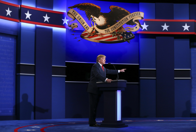 Republican presidential candidate Donald Trump speaks during the third presidential debate at the Thomas & Mack Center at UNLV in Las Vegas on Wednesday, Oct. 19, 2016. Chase Stevens/Las Vegas ...