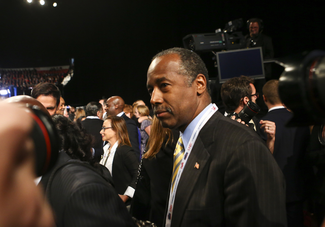 Dr. Ben Carson makes his way to his seat before the third presidential debate begins at the Thomas & Mack Center at UNLV in Las Vegas on Wednesday, Oct. 19, 2016. Chase Stevens/Las Vegas Revie ...