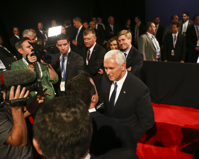 Republican vice presidential candidate Mike Pence is interviewed the third presidential debate at the Thomas & Mack Center at UNLV in Las Vegas on Wednesday, Oct. 19, 2016. Chase Stevens/Las V ...