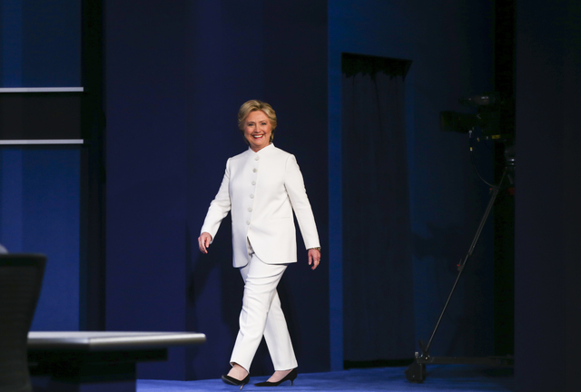Democratic presidential candidate Hillary Clinton walks on stage for the third presidential debate at the Thomas & Mack Center at UNLV in Las Vegas on Wednesday, Oct. 19, 2016. Chase Stevens/L ...