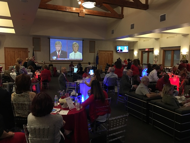 The scene Wednesday night at the UNLV Foundation Building debate viewing party. (John Katsilometes/Las Vegas Review Journal)