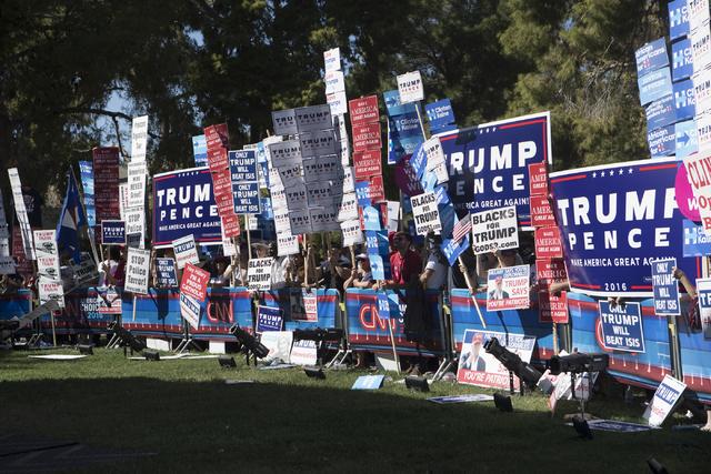 Demonstrators protest at UNLV in Las Vegas on Wednesday, Oct. 19, 2016. Loren Townsley/Las Vegas Review-Journal Follow @lorentownsley