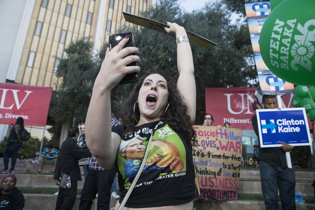 Green Party demonstrator protests next to the CNN stage at UNLV in Las Vegas on Wednesday, Oct. 19, 2016. Loren Townsley/Las Vegas Review-Journal Follow @lorentownsley