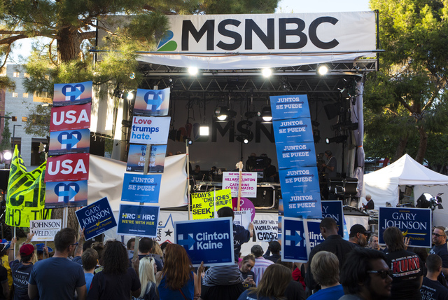 Attendees stand in front of the MSNBC stage ahead of the third presidential debate at UNLV in Las Vegas, on Wednesday, Oct. 19, 2016. Miranda Alam/Las Vegas Review-Journal Follow @miranda_alam