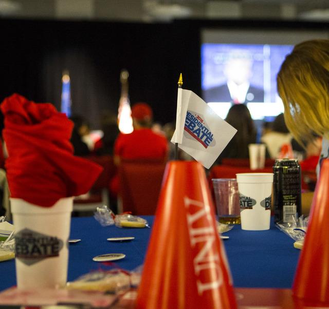 Attendees watch the third presidential debate from the Student Union Ballroom at UNLV in Las Vegas, on Wednesday, Oct. 19, 2016. Miranda Alam/Las Vegas Review-Journal Follow @miranda_alam