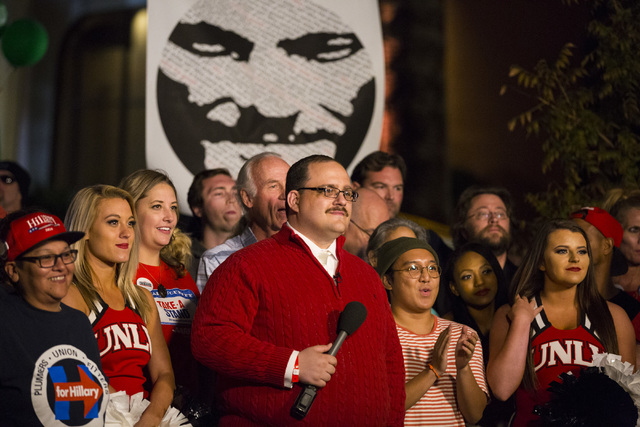 Internet sensation Ken Bone stands for an interview with Jimmy Kimmel outside of the Student Union building after the third presidential debate at UNLV in Las Vegas, on Wednesday, Oct. 19, 2016. M ...