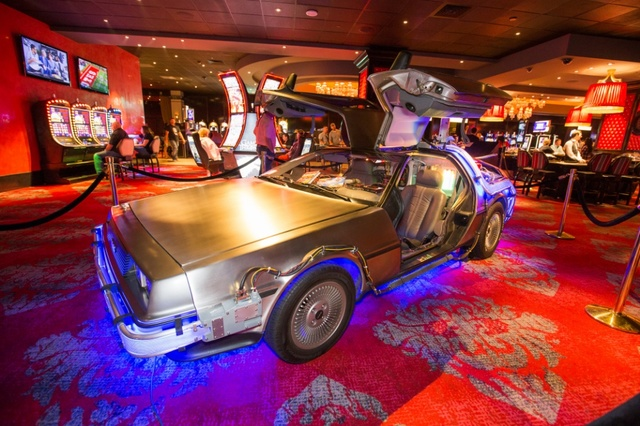 A DeLorean was parked in the Cromwell hotel during a Back to the Future Halloween theme. (Jesse Sutherland/Tony Tran Photography)